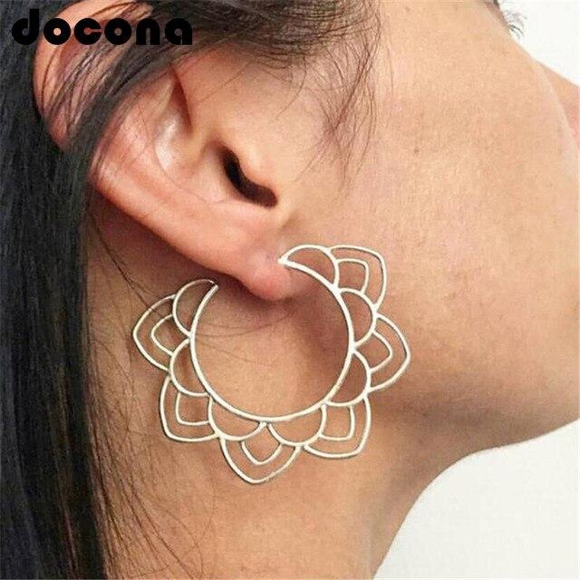 docona Ethnic Tribal Gold Silver Floral Drop Earring for Women Hollow Flower Dan