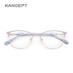 Image 1 - Metal Women Eyeglasses Frame Square Glasses Frame for Myopia 2019 Fashion Lavender Color for Women
