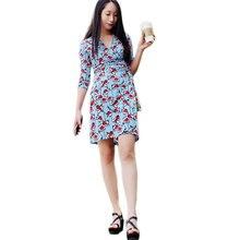 Femmes V-cou Libres Manches Imprimé floral Bleu Court Wrap Robes Robe Femme Ete 2017 Dames D'été Plage Robes