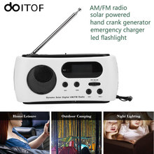 DOITOP Portable Solar Powered Hand Crank Generator Radio Emergency Charger Phones Chargers FM/AM Radio With 3 LED Flashlight #