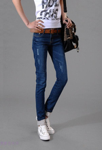 free Shipping 2016 Autumn New Models Two Cuffs Worn Jeans Female Casual Trousers Pencil Pants Woman High Waist Plus Size