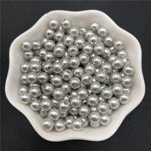 4mm 6mm 8mm 10mm Silver Gray Imitation Pearls Acrylic Beads Round Pearl Spacer Loose Beads For Jewelry Making(China)