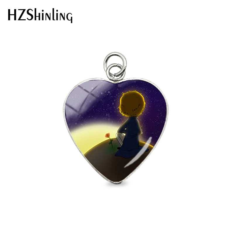 2019 New Arrival The Little Prince Cartoon Style Stainless Steel Plated Heart Charms Glass Cabochon Jewelry Pendants