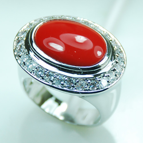 Red Coral White Crystal Zircon925 Sterling Silver Ring Size 6 7 8 9 10 F986