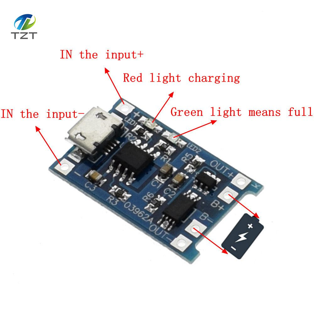 Tzt Type C Micro Usb 5v 1a 18650 Tp4056 Lithium Battery Charger Li On Via Module Charging