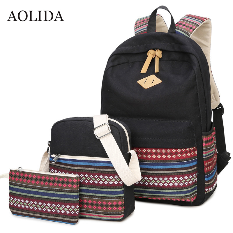 AOLIDA Laptop Canvas Backpack Women For School Backpack Set For Girls Mochilas Printing Fashion Backpack Shoulder Bag Women 2019AOLIDA Laptop Canvas Backpack Women For School Backpack Set For Girls Mochilas Printing Fashion Backpack Shoulder Bag Women 2019