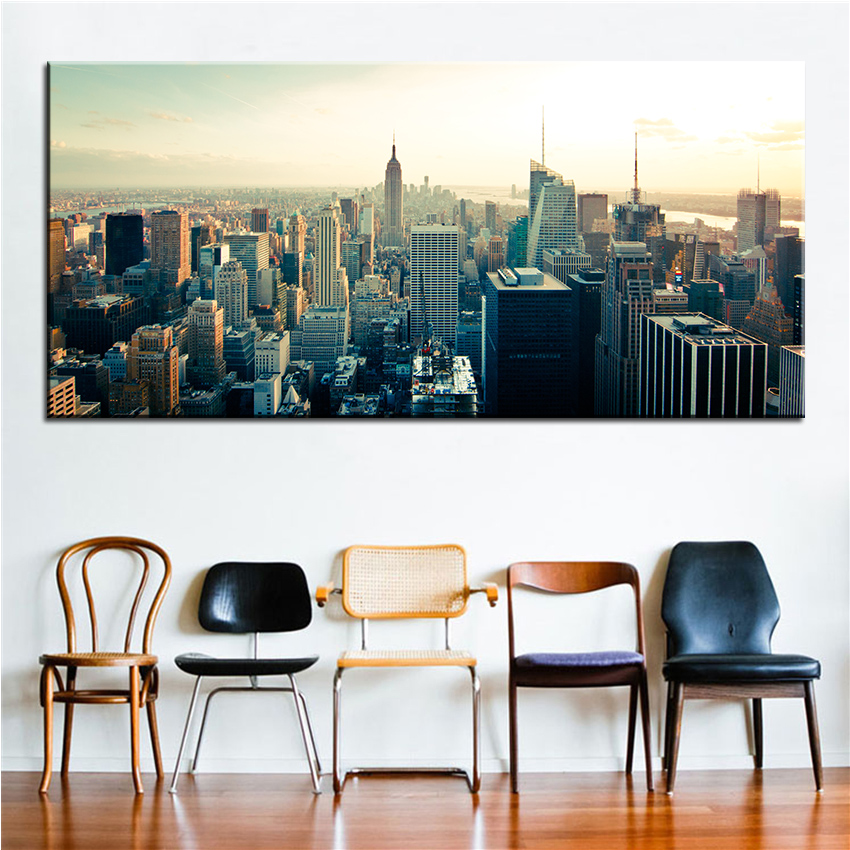 Large size Printing Oil Painting new york skyscrapers Wall painting Decor Wall Art Picture For Living Room painting No Frame