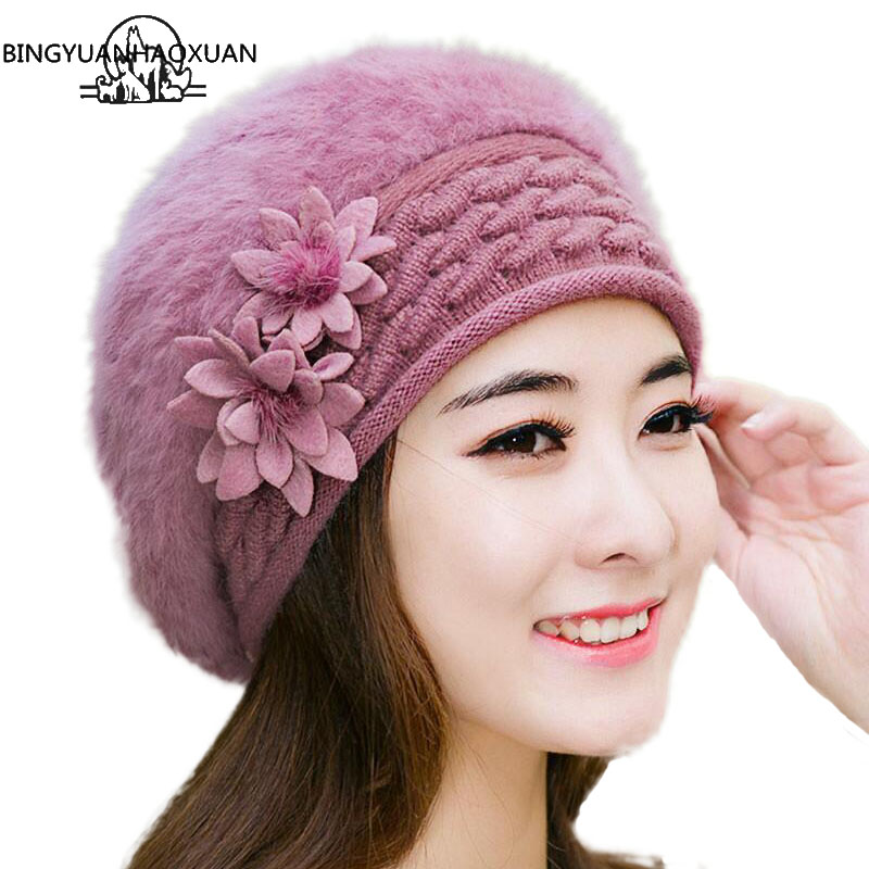 4137e298a3f12 Sparsil Women Winter Rabbit Fur Hat Knitted Wool Berets Fleece Warm Casual Cap  Bow-Knot Solid ...