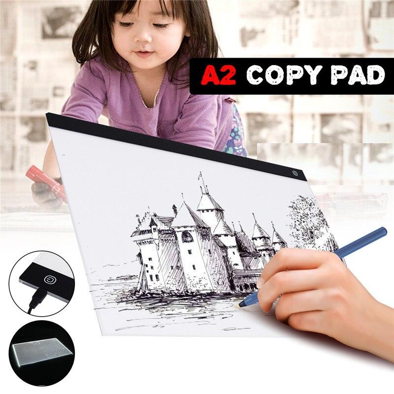 USB A2 LED dibujo pista Comics herramienta caja de luz de tablero de dibujo, Material acrílico artista del tatuaje molde mesa de copia Pad