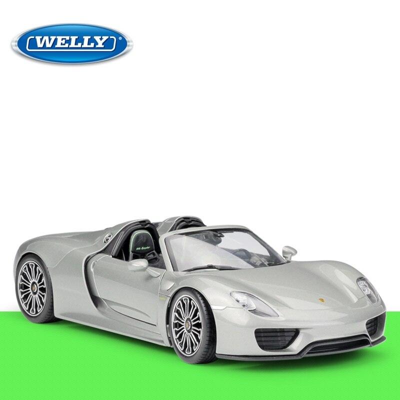 1:18 Welly Prsche 918 Spyder gris moulé sous pression modèle de voiture-in Jouets véhicules from Jeux et loisirs    1