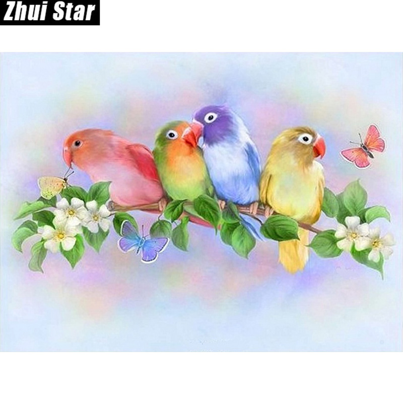 "Full Square Diamond 5D DIY Diamantmaleri ""Fargerik Love Bird"" Broderi Cross Stitch Rhinestone Mosaic Painting Decor Gift"