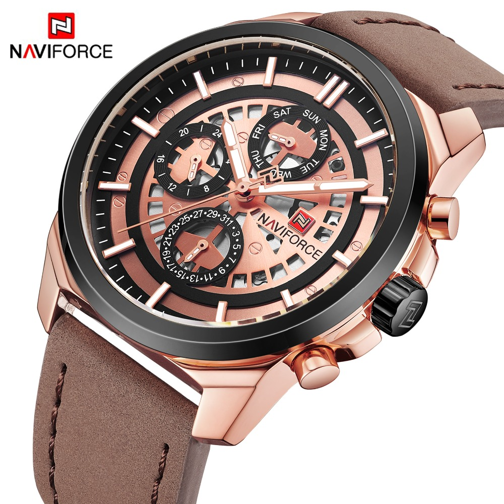 NAVIFORCE New Men Fashion Rose Gold Watches Men's Leather Quartz Wrist Watch Male Military Date 24 Hour Clock Relogio Masculino new naviforce men watch top brand luxury men s rose gold quartz wrist watches male 24 hour luminous date clock relogio masculino