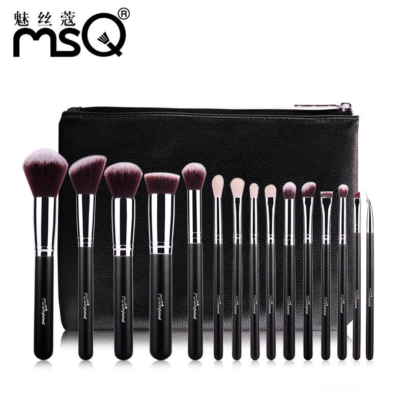 MSQ 15pcs Professional Makeup Brushes Set High Quality Goat Hair Highlighter Eyebrow Blush Brushes With PU Leather Case msq 15pcs 1 set pro makeup brushes makeup brush kit fiber goat hair with pu leather case makeup beauty tool