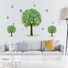 Forest Tree  FLOWER Butterfly Wall Stickers For Living room bedroom dining background decorative DIY Home Decor Decals