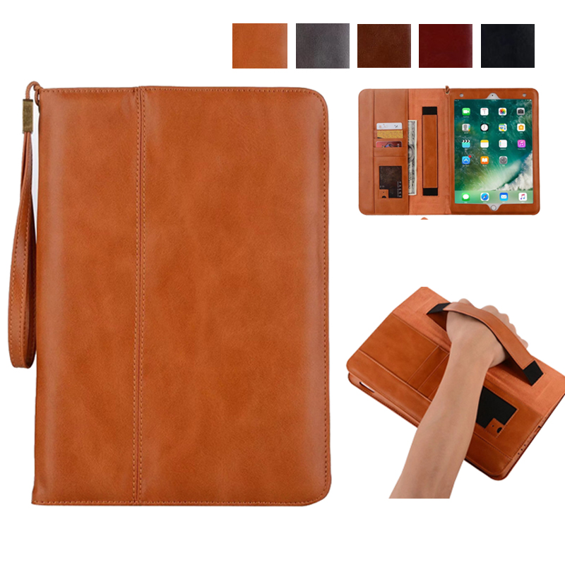 все цены на  Cover case funda for Apple iPad 2/3/4/5/Air 2/Pro tablet soft PU leather hand holder strap business book case for iPad 9.7 2017  онлайн