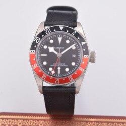 41mm Corgeut GMT męski automatyczny mechaniczny zegarek szafirowy zegarek z kalendarzem