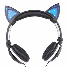 Hot Sale Cute Girl Gaming Headset Foldable Flashing Glowing Cat Ear Headphones With LED Light For PC Computer Phone Headband*