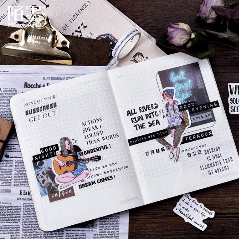 Купить с кэшбэком 45pcs/lot English newspaper paper sticker Decoration DIY Scrapbooking Sticker kawaii diary label sealing stickers