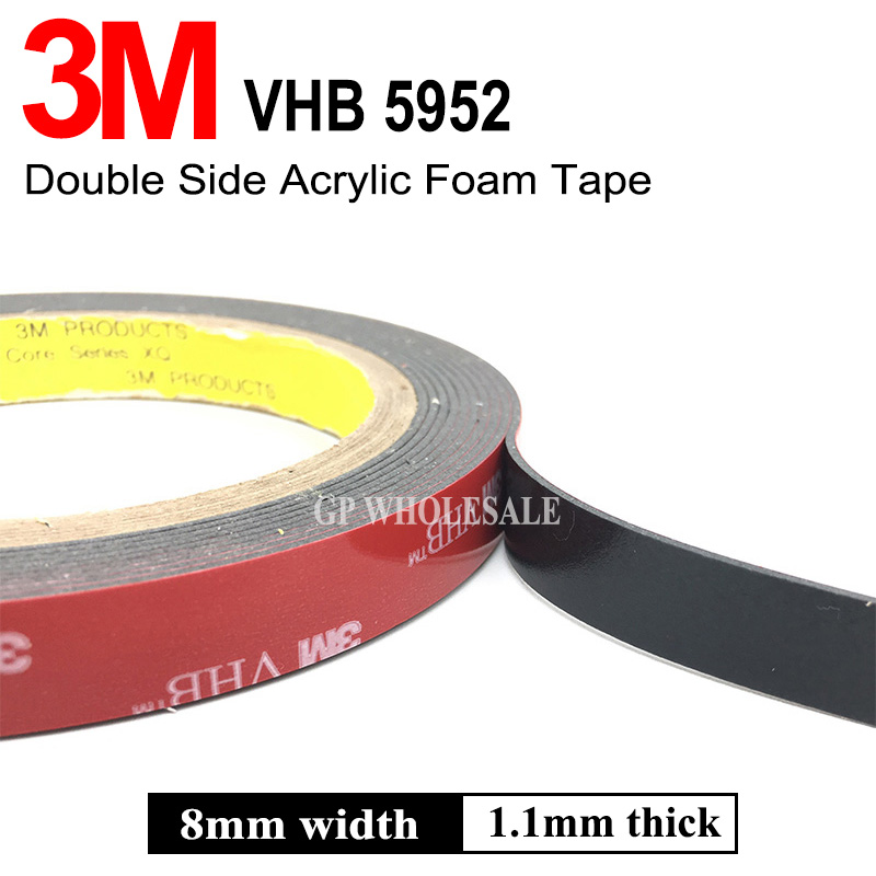 3M VHB 5952 Black Heavy Duty Mounting Tape Double Sided Adhesive Acrylic Foam Tape 8mmx3Mx1.1mm недорго, оригинальная цена