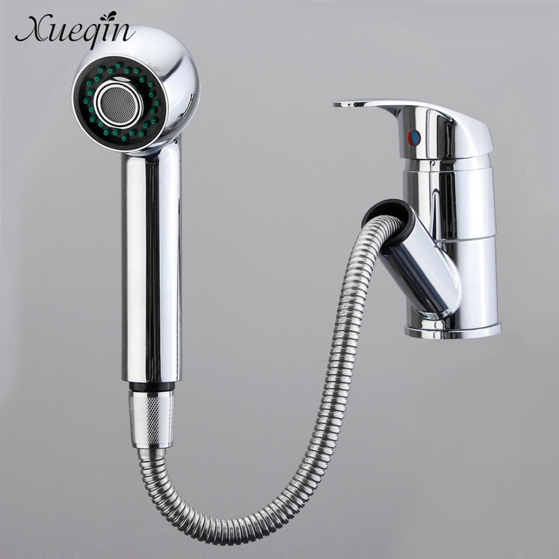Xueqin Pull Out Kitchen Cold Water Mixer Tap Single Handle Spray Bathroom Sink Basin Washbasins Faucet Taps xueqin free shipping unique design chrome finished kitchen basin sink water faucet mixer tap single handle cold bathroom faucet