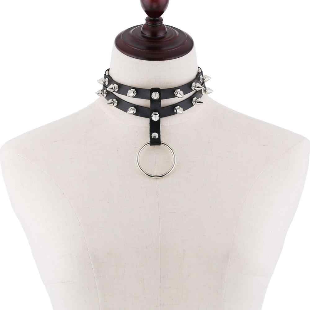 Спайк Чокер Воротник для женщин ожерелье шипованные Готический чокер Мужчины Прохладный панк-рок кожа чокер эмо Harajuku стимпанк ювелирные изделия