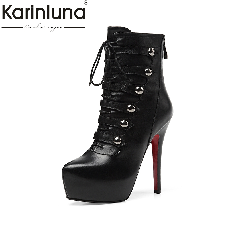 KARINLUNA Brand Design Sexy Genuine Leather Platform Women Shoes Woman Thin High Heel Shoelace Ankle Boots Top Quality Black цена