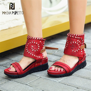 Prova Perfetto Handmade Hollow Out Women Sandals Thick Heel Wedge Shoes Woman Platform Pumps Wedges Sandalias Mujer Creepers