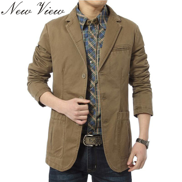 Brand New blazer men Casual Blazer Cotton Denim Parka Men's slim fit Jackets Army Green Khaki Large Size M -XXXXL