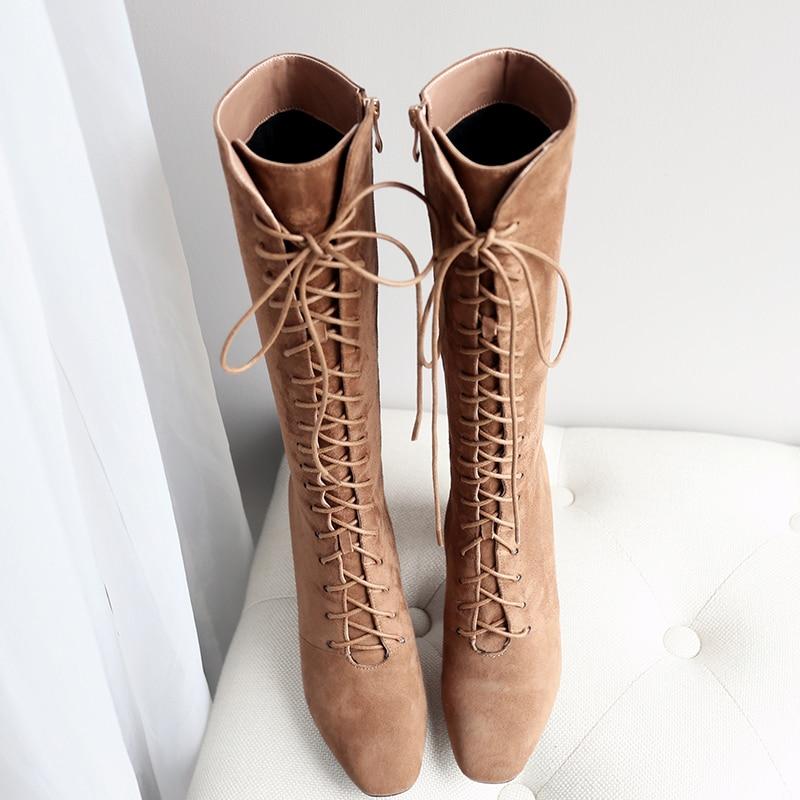 Zipper Bambino 2018 inverno moda punta Wetkiss alti camoscio con al incrociato donna alti Donna ginocchio Stivali Scarpe Tacchi tonda marrone qvXTwO