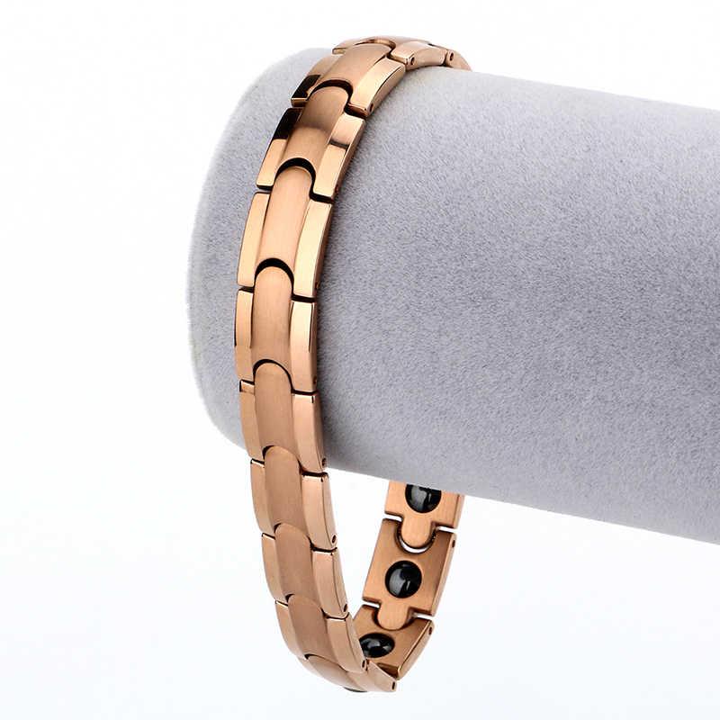 2018 новый дизайн розовое золото 11 мм оздоровительный германий инфракрасный отрицательный ионный магнитный браслет для женщин бижутерия Амулет браслет