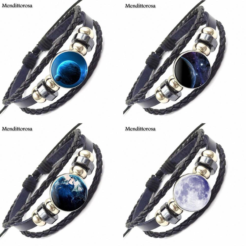 EJ Glaze Celestial Body Brand Glass Cabochon Black Leather Bracelet Bangle Jewelry Gift For Unisex Party Gift