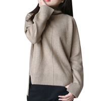 pure goat cashmere thick knit women fashion autumn winter sweater pullover high collar casual wide loose caramel 5color S/M/L