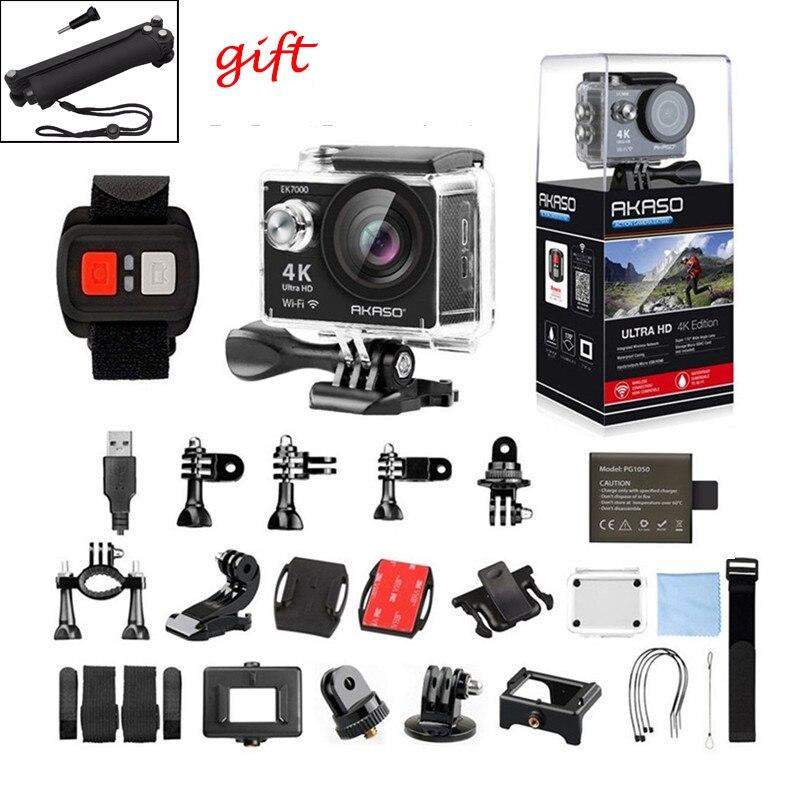 AKASO EK7000 Wifi caméra d'action 1080 p Full HD 2 pouces 170 grand Angle 30 M étanche Mini caméra Sport caméra Selfie bâton accessoires