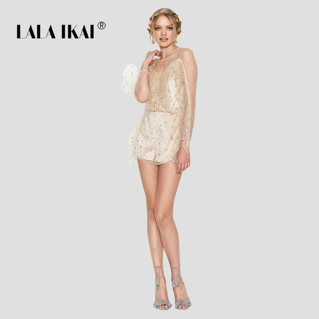46530f647ebe Women Solid Sexy Hot Gold Sequins Jumpsuit Summer Backless Bling Sheer Lace Woman  Jumpsuits See Through Playsuit 2018 KWH0240-45