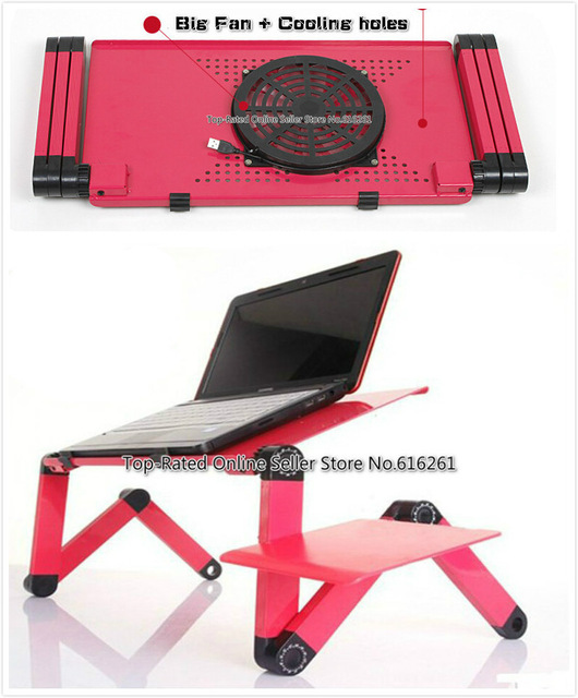 Ergonomic Laptop Cooling Table Stand For Bed Portable Sofa Laptop Table Foldable Notebook Desk Lapdesks With Mouse Pad + Big Fan