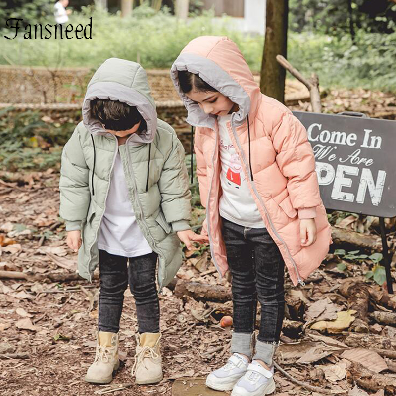 Winter children's down jacket thickening boys and girls hooded coat children's long section down jacket warm below -20 degree pu leather and corduroy spliced zip up down jacket