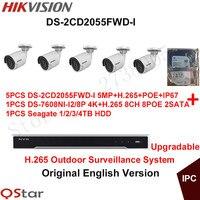 Hikvision Original English Outdoor CCTV System 5pcs DS 2CD2055FWD I 5MP H 265 IP Bullet Camera