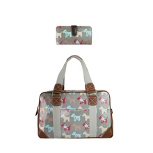 1 Set ( bag + purse ) Women Dog Oilcloth Large Overnight Weekend Travel Maternity Handbag Tote Bag Long Coin Purse Wallets
