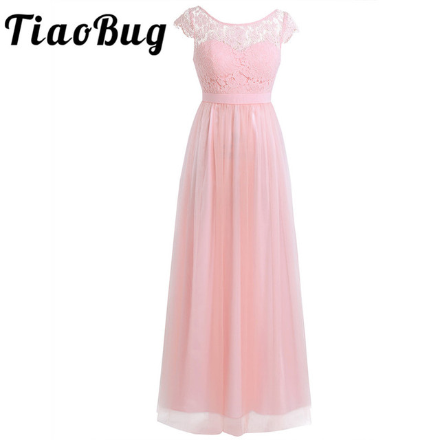 TiaoBug Black Gray Wine Red Pearl Pink Bridesmaid Dresses 2017 Elegant Women Ladies Wedding Party Tulle Chiffon Lace Bow Dress