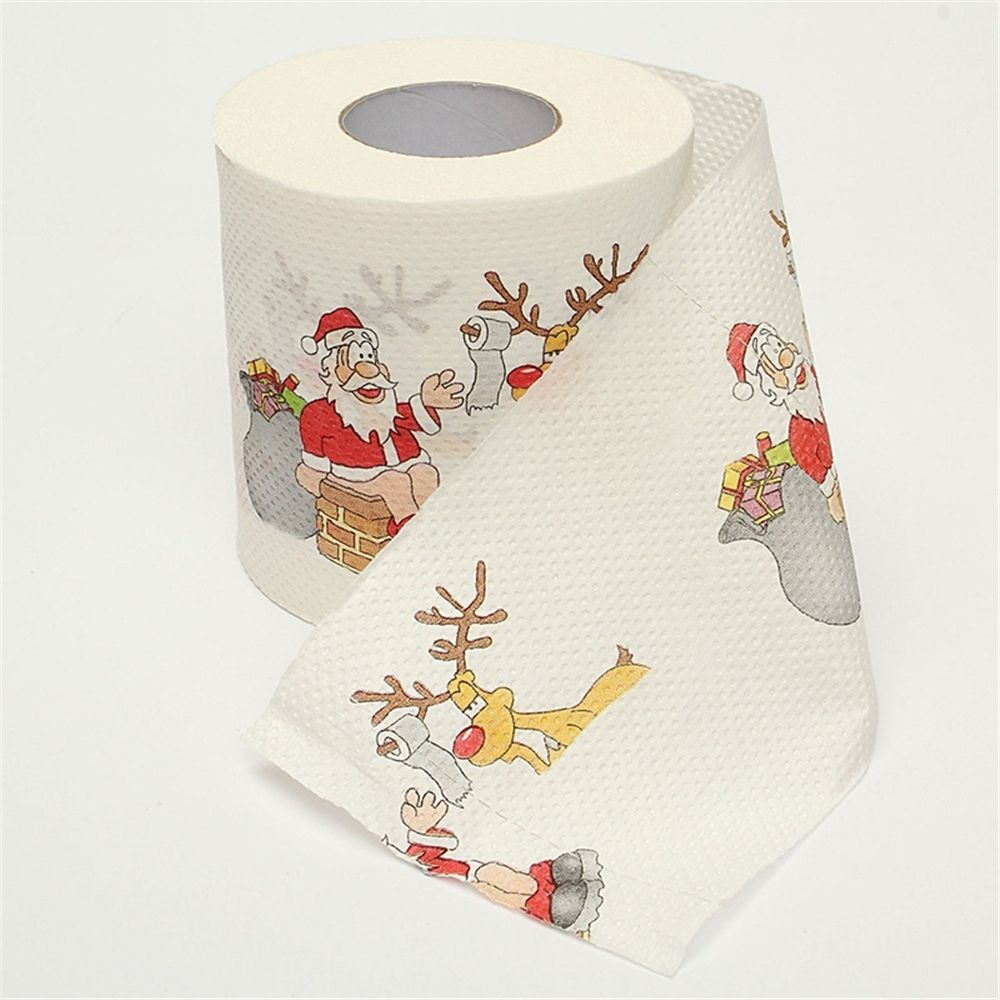 1 Roll Santa Claus Printed Merry Christmas Toilet Paper Tissue Table Room Decor Christmas Party Ornament DIY Craft Paper merry christmas santa claus diy wall stickers glass showcase decor