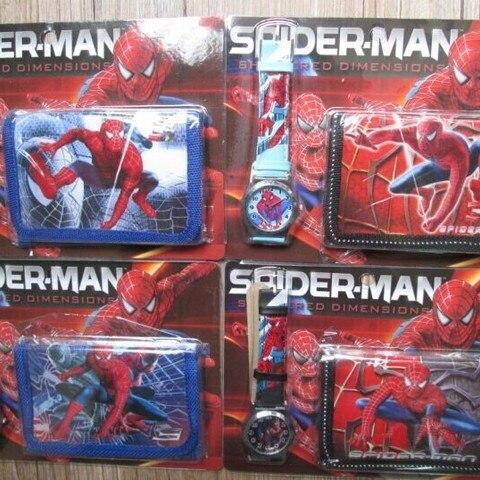 1pcs Hot sale! Wholesale New Lot Spiderman sets cartoon kids part Set watch Wristwatch and wallet purse Multan