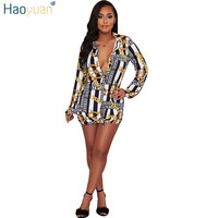 HAOYUAN Chain Printed Shirt Dress Women Long Sleeve Turn Down Collar Party Robe Sexy Dresses Casual