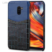Wangcangli Phone Case Crocodile Pattern And Wax Leather Mixed Color Half Pack Phone Case For Xiaomi