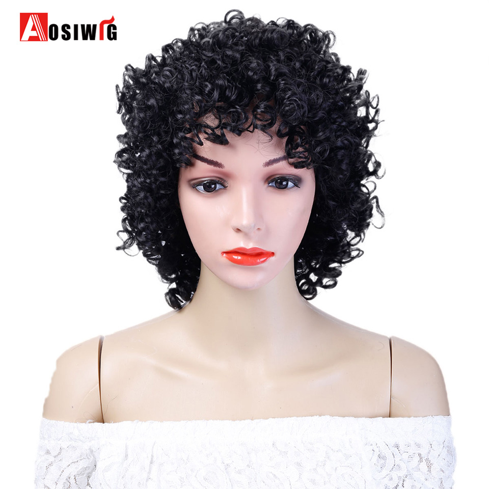 AOSIWIG Black 3 Colors Short Afro Kinky Curly Wig Synthetic Hair Cosplay Wig Costume Halloween