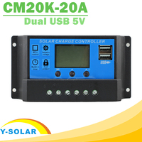 NEW USB Solar Charge Controller 20A With Dual USB Output 12V 24V auto work LCD Dispaly PWM Solar regulator  Max 480W Input