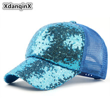 XdanqinX Summer New style Womens Hat Sequins Long Eaves Mesh Breathable Baseball Caps Hip-hop Cap Young Female Duck Tongue