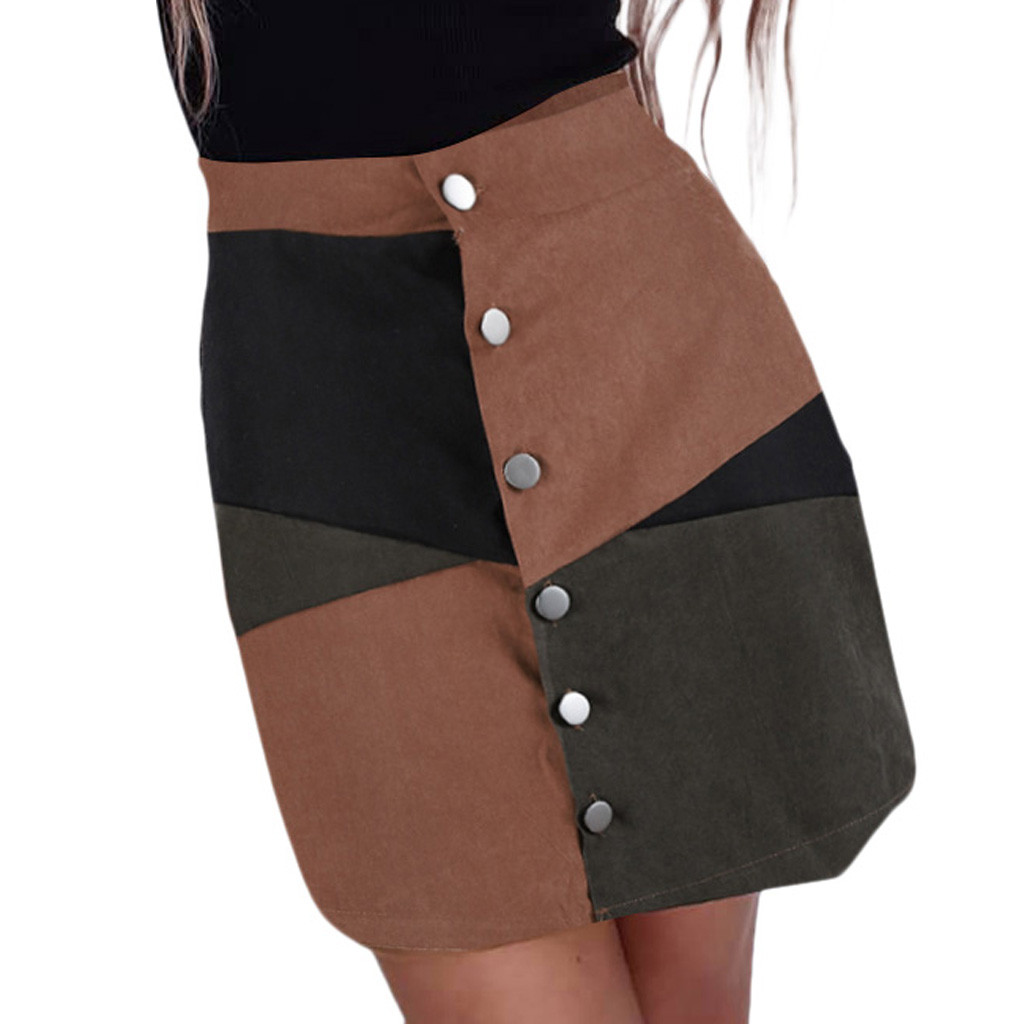 Sleeper #401 2019 NEW FASHION Fashion Women Casual Botton A-Line Skirt Patchwork Color Block Short Mini Skirt Hot Free Shipping