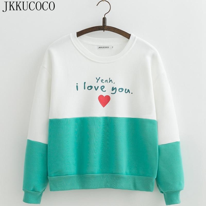 JKKUCOCO I love you Letters Casual sweatshirts Women hoodie Sweatshirt Fleece inside Warm Cotton Hoodies O
