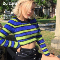 Brand New Furry Knitted Sweaters Women Unif Fashion Long Sleeve Cropped Pullovers Knitwear Female Autumn Jumper Tops Pull Femme
