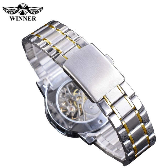 Winner Transparent Fashion Diamond Display Luminous Hands Gear Movement Retro Royal Design Men Mechanical Skeleton Wrist Watches 4